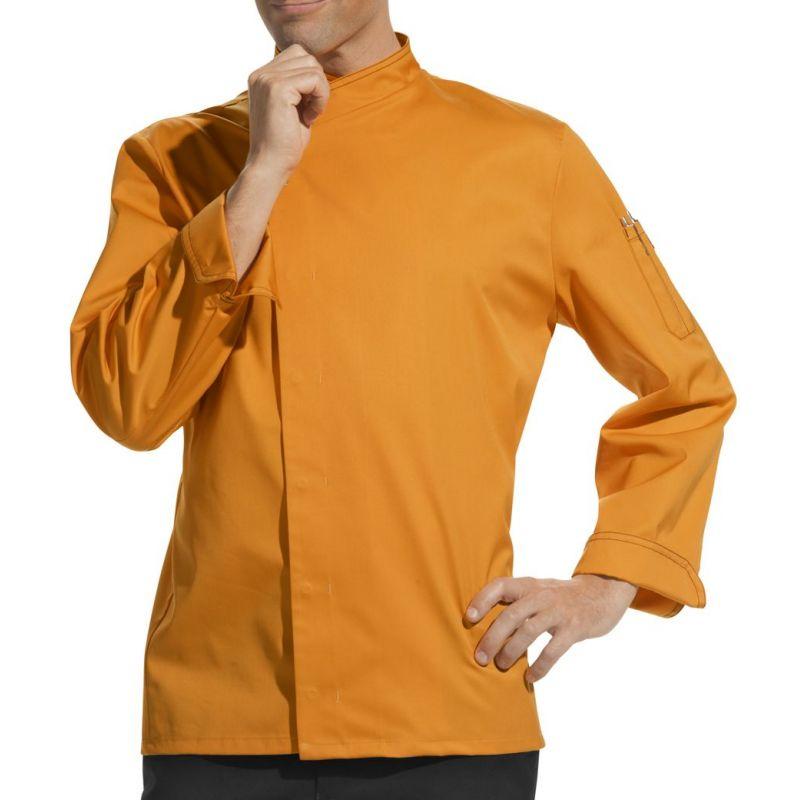 veste cuisine tissu trs lger mangue veste de - Veste De Cuisine Orange