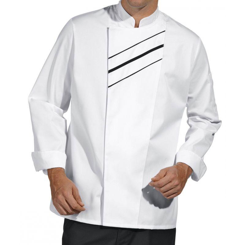 Veste de cuisine passepoil contrastant sur le devant boutons pression invisibles Veste de cuisine orange