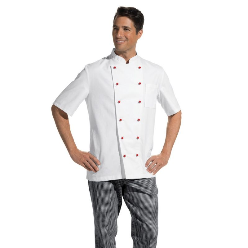 Veste de cuisine manches courtes 100 coton serg fin for Veste de cuisine manche courte