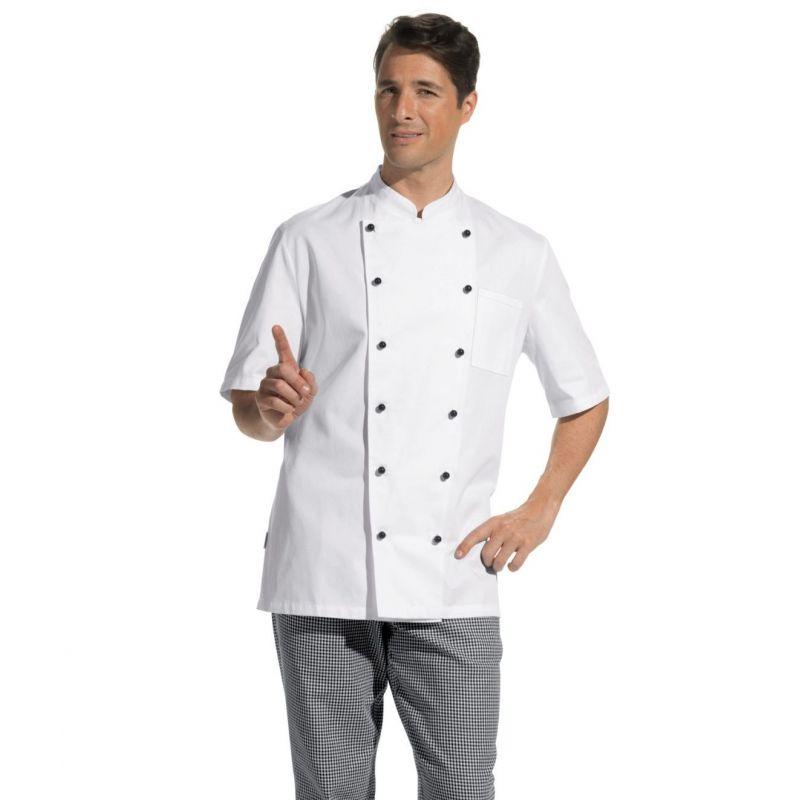 Veste de cuisine manches courtes 100 coton merceris for Veste de cuisine manche courte