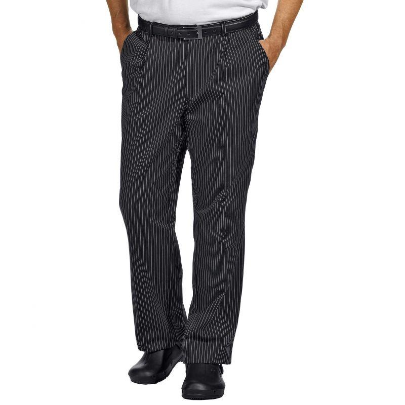 Pantalon de cuisine ou de service fines rayures tiss es for Pantalon de cuisine noir