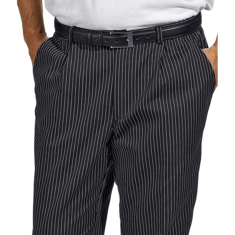 pantalon de cuisine ou de service  fines rayures tiss u00e9es  noir et blanc