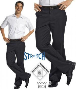 Pantalon homme noir, très confortable, Ceinture avec partie élastiquée, Stretch extensible