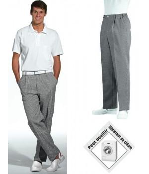 Pantalon cuisine homme et femme coton, Elastiqué à la ceinture