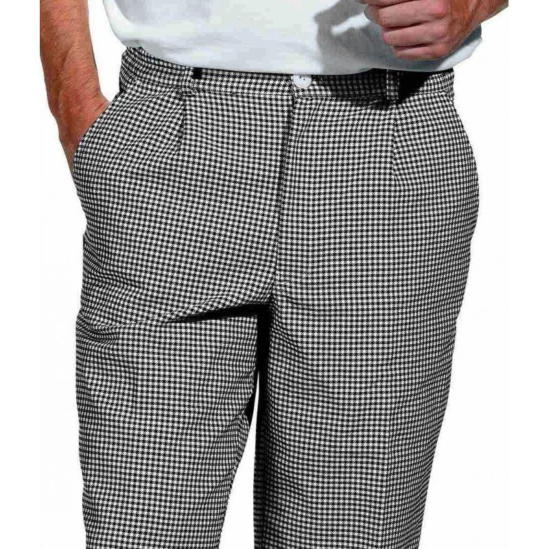 Pantalon de cuisine boulangerie pied de poule noir blanc for Pantalon cuisine noir