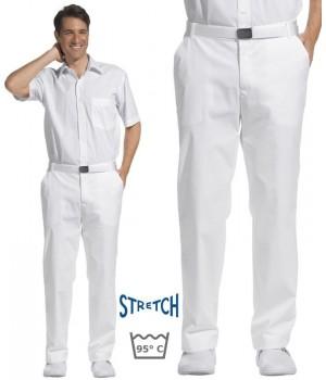 Pantalon blanc hommes, taille confortablement élastiquée sur les côtés, Stretch