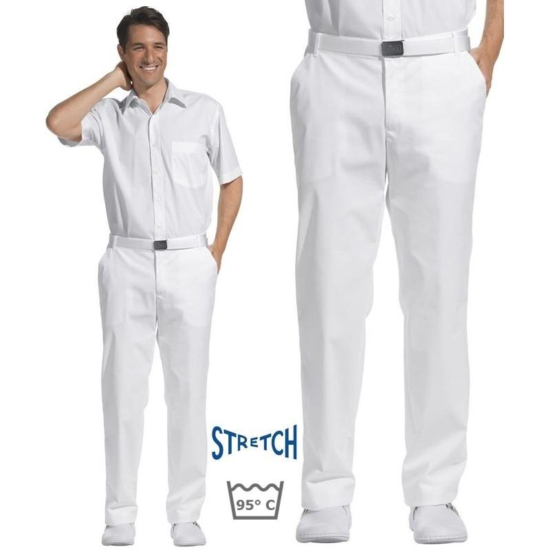 pantalon blanc hommes taille confortablement lastiqu e sur les c t s stretch. Black Bedroom Furniture Sets. Home Design Ideas