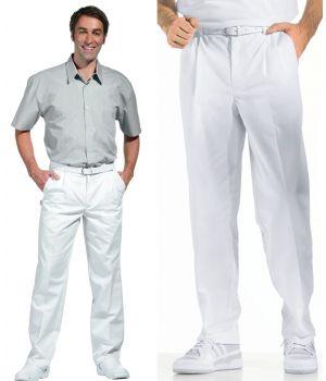 Pantalon blanc homme à pinces, taille élastique au dos, peut bouillir