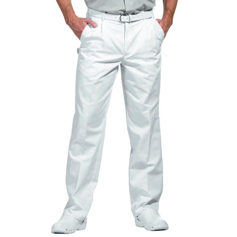 Pantalon blanc homme à pinces, taille élastique au dos, peut ...