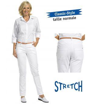 Pantalon blanc femme, coupe Jeans, tissu extensible Stretch, rivets