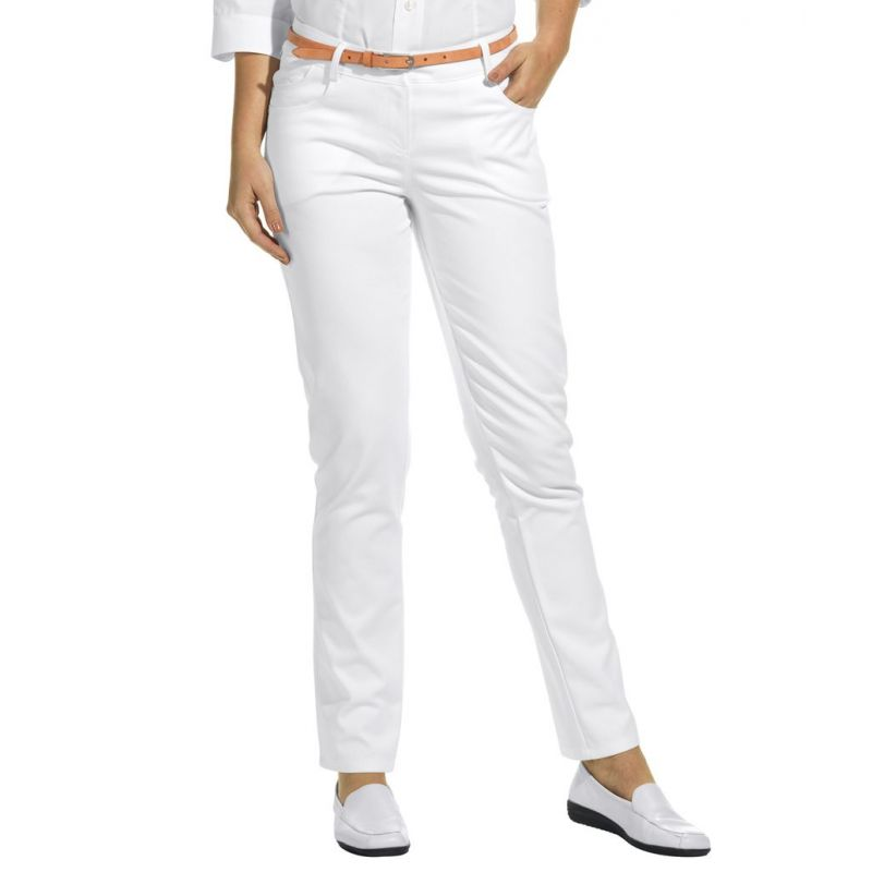 pantalon blanc femme coupe jeans tissu extensible. Black Bedroom Furniture Sets. Home Design Ideas