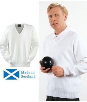 Pull homme blanc, Coton et acrylique, col V, fabriqué en Ecosse