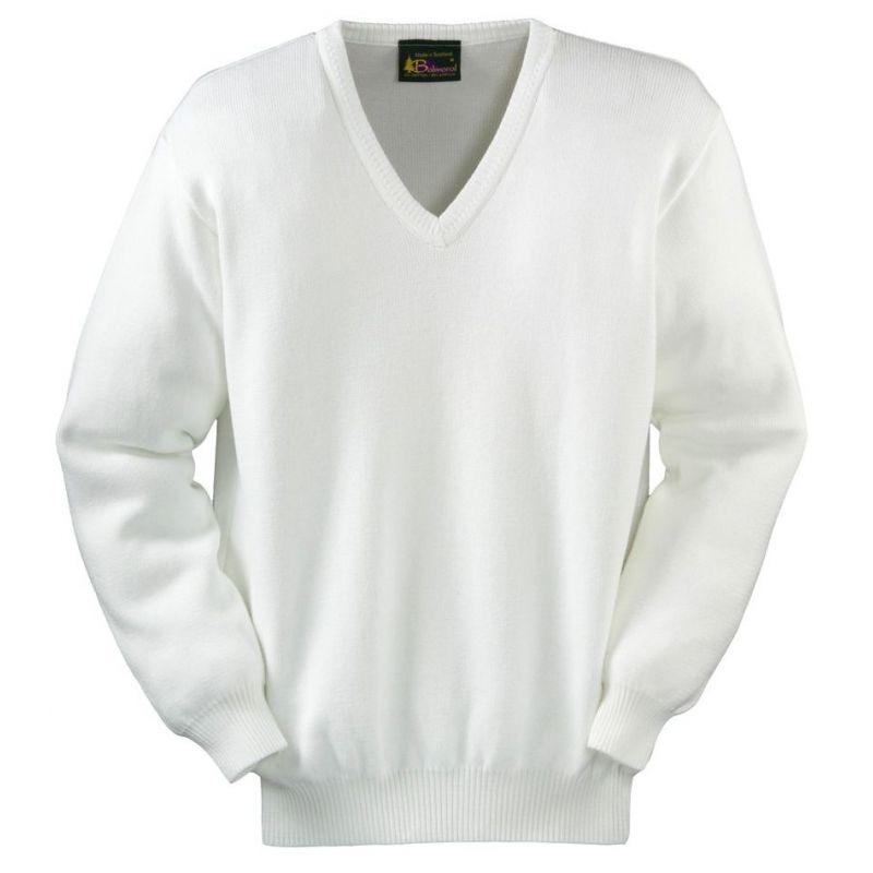 pull homme blanc coton et acrylique col v fabriqu en ecosse. Black Bedroom Furniture Sets. Home Design Ideas