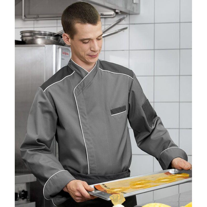 Veste de cuisine col officier couleur gris bouton pression for Veste de cuisine col mof