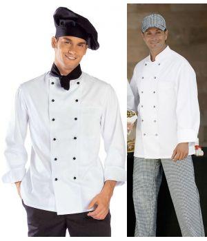 Veste de cuisine boulanger Coutures viennoises blanc Col officier