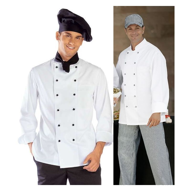 veste de cuisine boulanger coutures viennoises blanc col officier. Black Bedroom Furniture Sets. Home Design Ideas