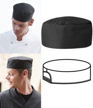 Calot cuisine, noir, Soufflet élastique, le paquet de 3