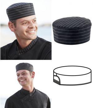 Calot cuisine Taille S, noir et rayures anthracite, Soufflet élastique