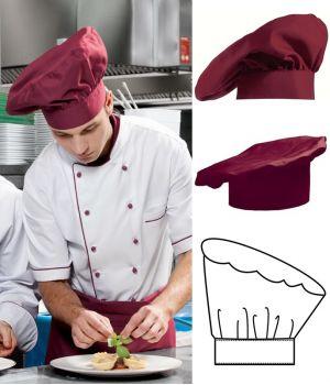 Toque Chef, béret Bordeaux, coton-Trevira confort et solidité