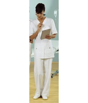 Tunique femme blanche en Coton, manches courtes, Entretien facile, peut bouillir