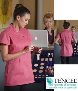 Tunique femme manche courte, Rose, Entretien facile, Tissu Tencel doux