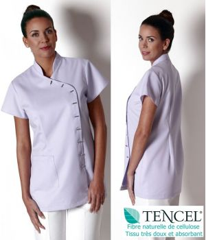 Tunique femme manche courte, Lilas, Entretien facile, Tissu Tencel doux