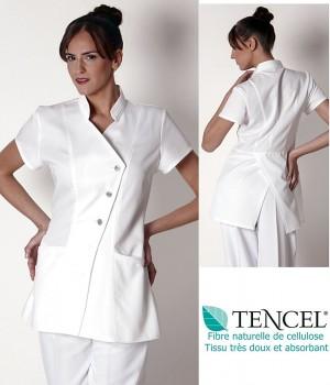Tunique femme, Blanche, Fermeture asymétrique à boutons, Tissu Tencel doux