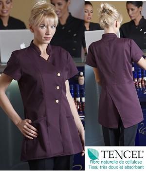 Tunique femme, Aubergine, Fermeture asymétrique à boutons, Tissu Tencel doux