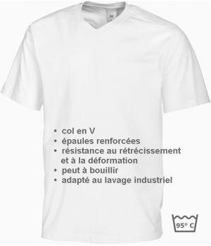 T-shirt femme et homme, Col en V, peut bouillir, résistant au chlore, Blanc