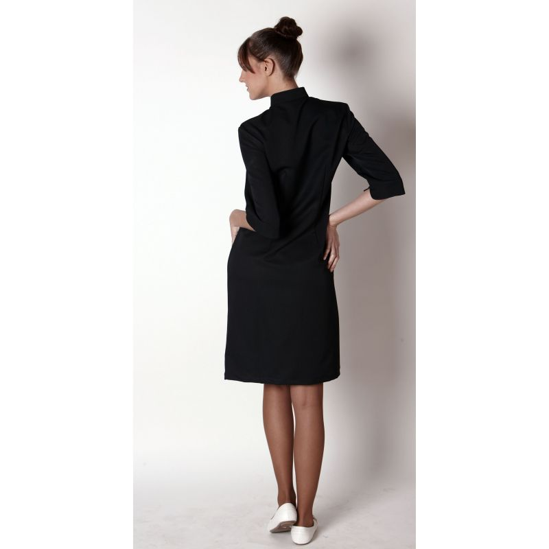 c98c6a2a0c712 ... Blouse robe femme, noire, manches 3 4, Look Asie, Polyester ...