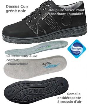 Chaussures de travail Cuir Coussin d'air Antidérapant, Noire, semelle finition brossée
