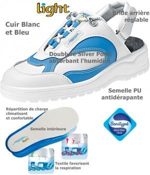 Chaussures Light, Dessus cuir, antidérapantes, Blanc et Bleu