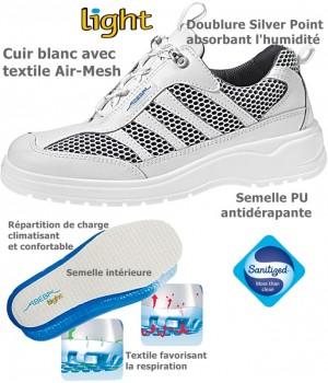 Chaussures Light, antidérapantes, Cuir Blanc avec textile Air-Mesh