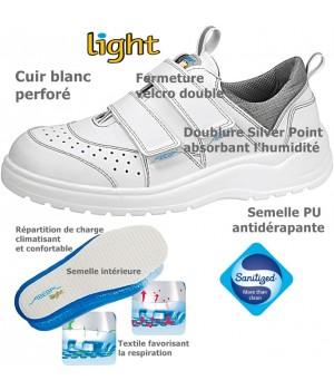 Chaussures Light, antidérapantes, Cuir Blanc perforé,  Fermeture velcro double