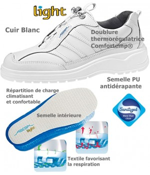 Chaussures Light, antidérapantes, Cuir Blanc,  Doublure thermorégulatrice