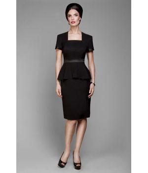Robe manches courtes noire, Taille 34 Coupe cintrée, bi-stretch confort