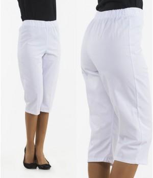 Pantacourt droit, Taille élastiquée, blanc, sans poche
