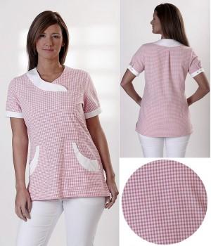Tunique femme, tissu Vichy rose, boutons pression aux manches courtes