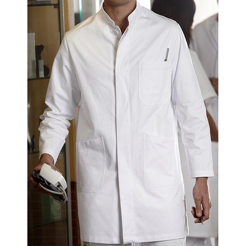 blouse blanche homme manches longues col officier coton. Black Bedroom Furniture Sets. Home Design Ideas