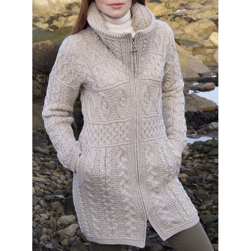 manteau de laine col double fermeture glissi re celtique laine merino extra douce. Black Bedroom Furniture Sets. Home Design Ideas