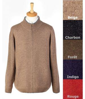 Gilet homme, zippé, 100% laine d'agneau Taille 2XL