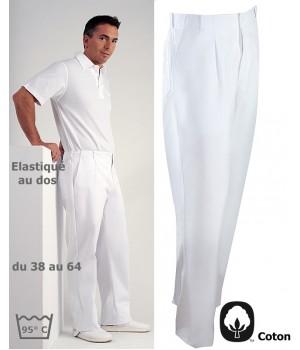 Pantalon blanc homme, 100% coton, 2 poches latérales, poche arrière, élastique au dos