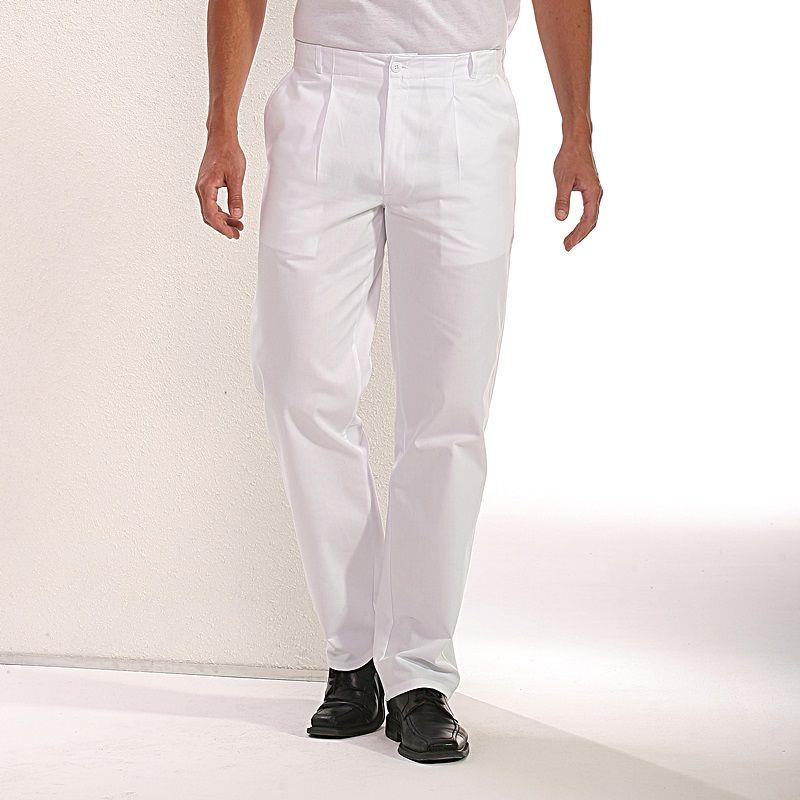 pantalon blanc homme 100 coton 2 poches lat rales. Black Bedroom Furniture Sets. Home Design Ideas