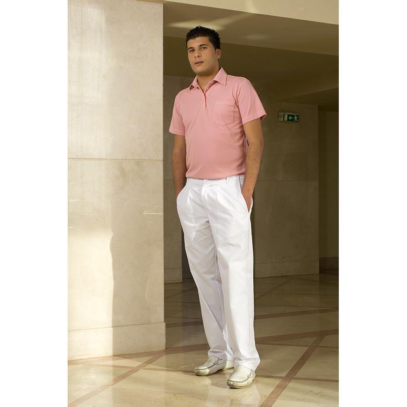 pantalon blanc homme 100 coton 2 poches lat rales poche arri re lastique au dos. Black Bedroom Furniture Sets. Home Design Ideas