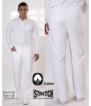 Pantalon blanc Jeans homme, 100% coton, 2 poches latérales, 2 poches arrière