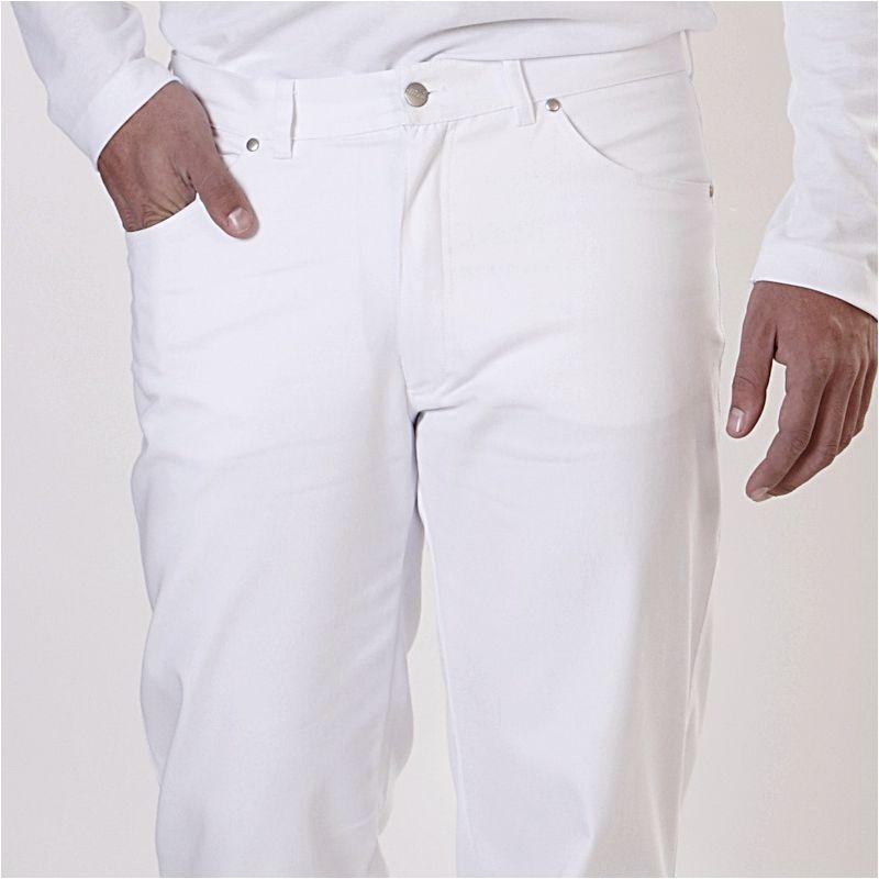 pantalon blanc jeans homme 100 coton 2 poches lat rales 2 poches arri re. Black Bedroom Furniture Sets. Home Design Ideas