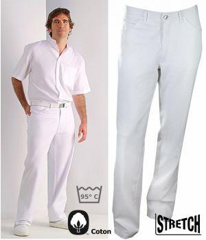 Pantalon blanc Jeans homme, Coton et Stretch Denim, 2 poches latérales, 2 poches arrière