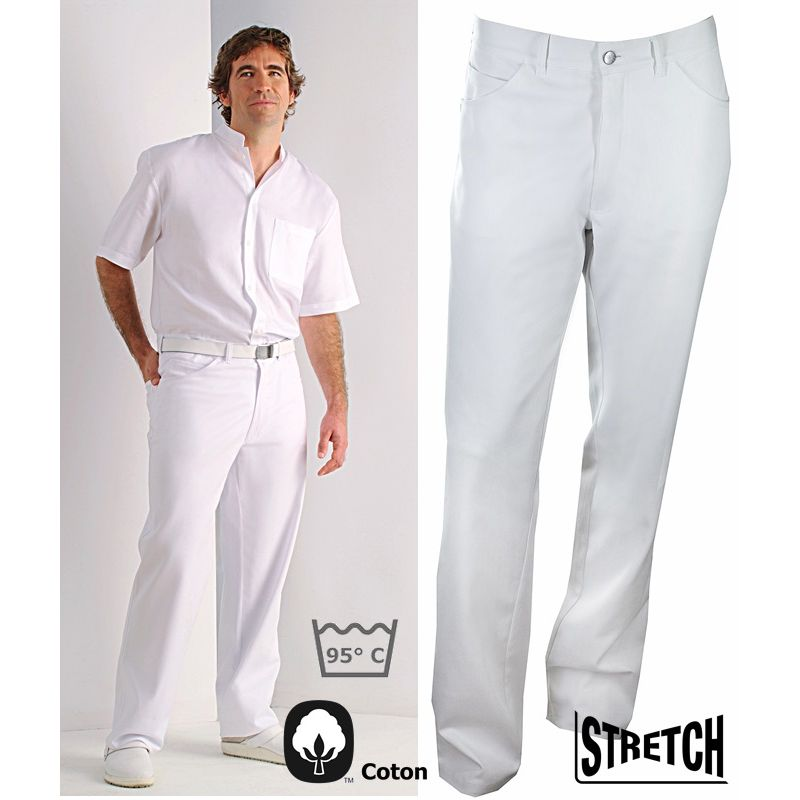 pantalon blanc jeans homme coton et stretch denim 2 poches lat rales 2 poches arri re. Black Bedroom Furniture Sets. Home Design Ideas