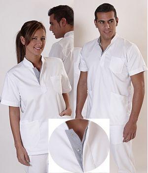 Tunique femme ou homme, Col montant, Tissu contrasté au col et aux pattes des manches