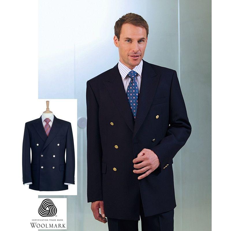 blazer crois homme double rang es de 3 boutons m tal pure laine vierge. Black Bedroom Furniture Sets. Home Design Ideas